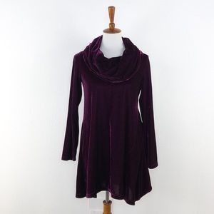 Soft Surroundings Maroon Cowl Neck Tunic Style Top